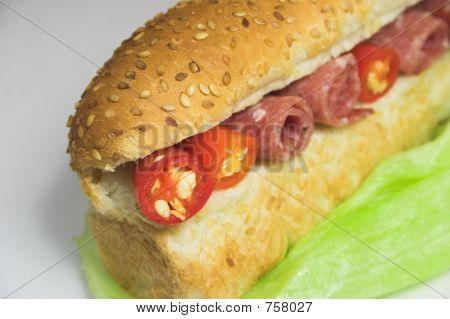 Ham,chili and lettuce sandwich