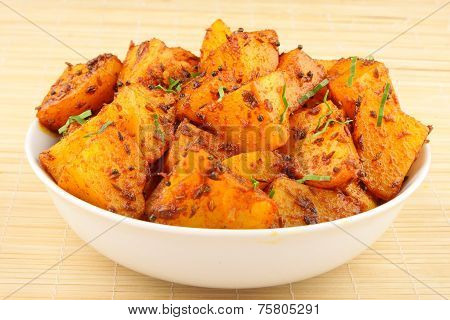 Hot and spicy Indian style potato fry