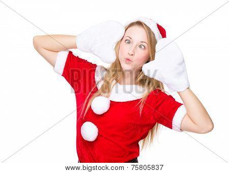 Cross eye and pout lip christmas girl