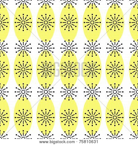Vector seamless repeating pattern of simple shapes in yellow black colors on a white background.