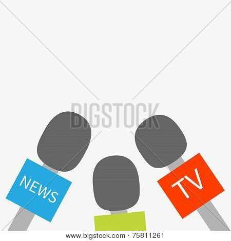 Microphone Tv News Set Reparter Journalism Concept Flat Design Style