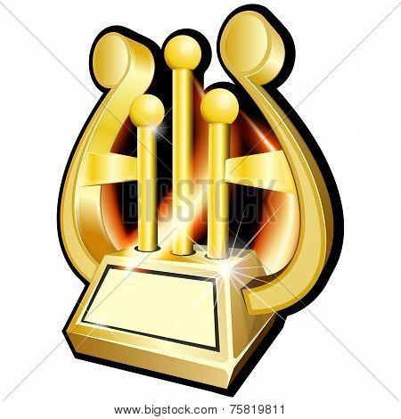 Harp. Gold award statuette
