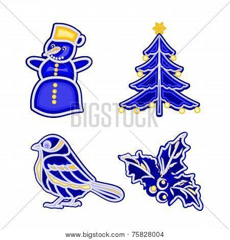 Christmas decoration blue faiánse snowman tree bird holly vector