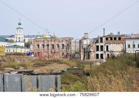 The ruins of the old house. Bauman Street, Kazan, Tatarstan, Russia.