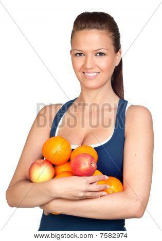 Gymnastics Girl With Many Fruits