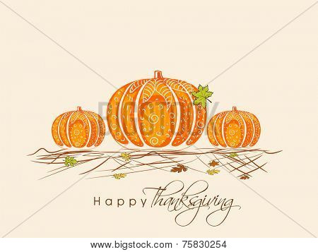 Stylish pumpkin with maple leaves for Happy Thanksgiving Day celebration on beige background.