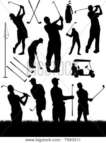 Vector Golf Elements and Silhouettes