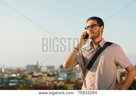 Professional Casual Man On Cellphone Job Call