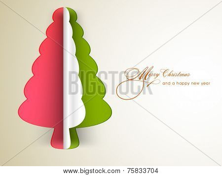 Merry Christmas and Happy New Year celebrations with colorful paper X-mas tree and stylish text on grey background.