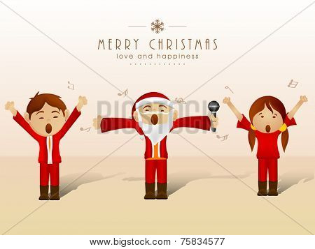 Cute Santa Claus singing jingle with little kids for Merry Christmas festival of Love and Happiness celebrations.