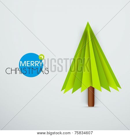 Stylize Xmas tree made from paper cut-out on grey background for Merry Christmas celebration.