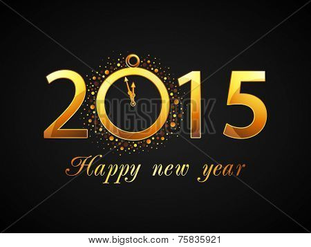 Text design of 2015 with clock showing almost twelve o'clock for welcome of Happy New Year.