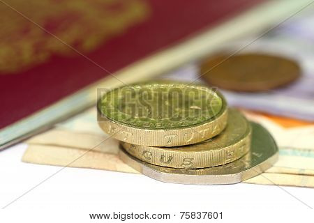 British Pound With Bank Notes With Passport