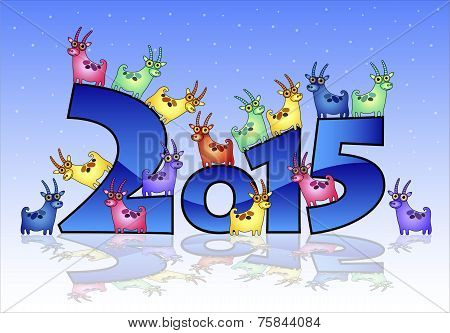 Happy New Year 2015 card with goats