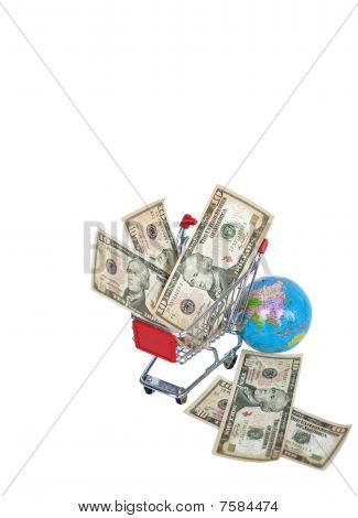 shopping cart and money