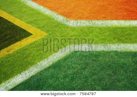 South African flag marked on a sports field