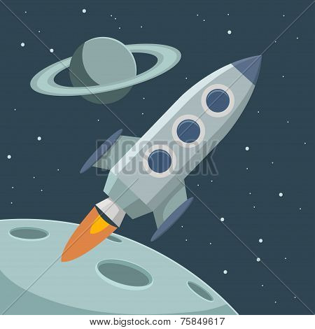 Vector Retro Space With Rocket And Planets