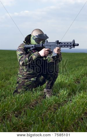 Man Is Paintballing