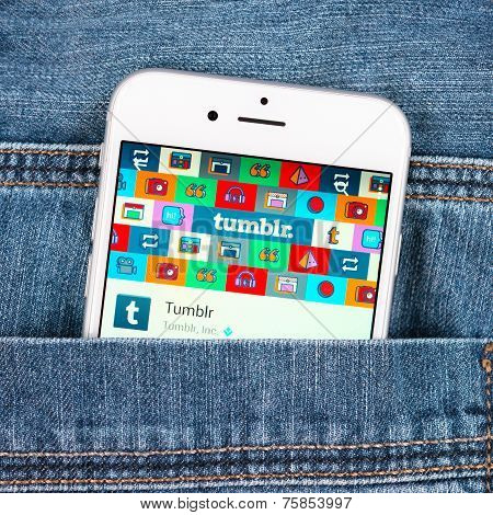 Silver Apple Iphone 6 Displaying Tumblr Application