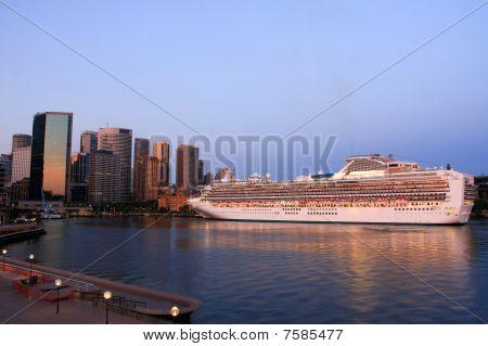 Ocean cruiseliner at port.