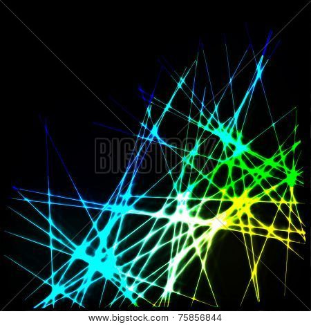 Black background with neon lines