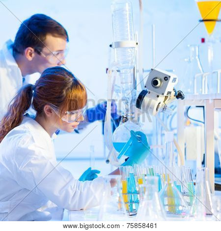 Young chemists in the laboratory.