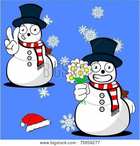 snow man cartoon xmas set9