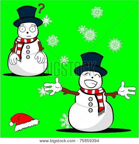 snow man cartoon xmas set4