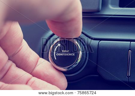 Man Turning Up A Dial Reading - Self Confidence