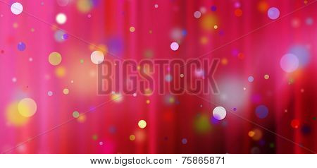 colorful confetti against a red blurred curtain background poster