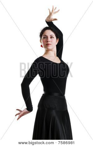 Beautiful Young Woman Dancing Flamenco
