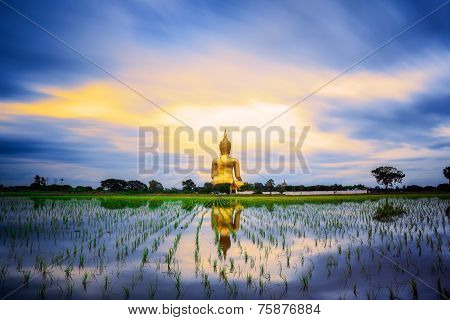 Wat Muang With Gilden Giant Big Buddha Statue