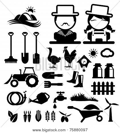 Agriculture and farming icons and spade isolated vector illustration. poster