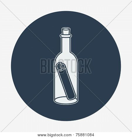 Flat style icon with sea or bottle mail, vector illustration.