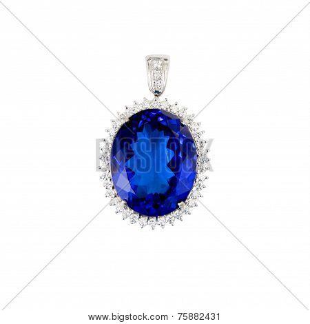 Tanzanite, Blue Gemstone, Pendant, with Diamonds, Isolated on White Background