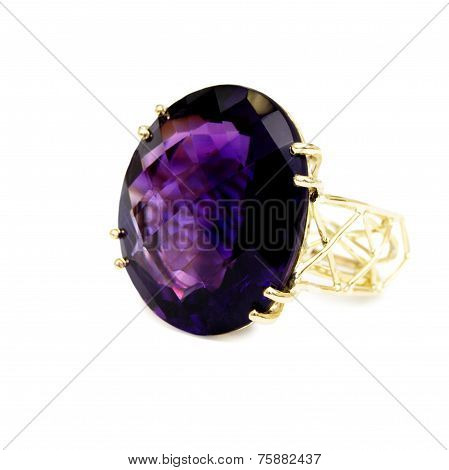 Ring - Purple Precious/Semi-precious Gemstone, Set in Gold, Isolated on White Background