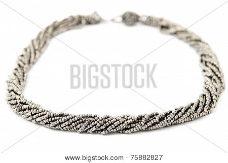 Silver/Grey Multistrand Twisted Beaded Neckwear, Traditionally African, Isolated on White Background