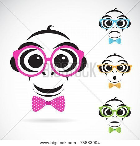 Vector Image Of A Monkey Wearing Glasses On White Background.