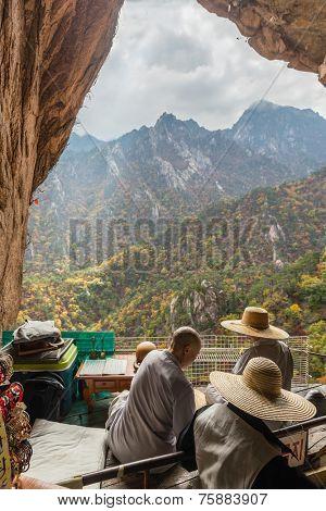Buddhist monks at seorak mountains cave at the Seorak-san National Park, Soraksan, South korea