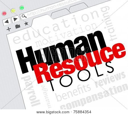 Human Resources words on a website internet screen including education, motivation, payroll, training, management, reviews and compensation