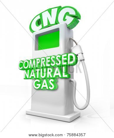 CNG acronym in greed 3d letters on an alternative fuel pump and words Compressed Natural Gas on it to advertise the clean energy or power option