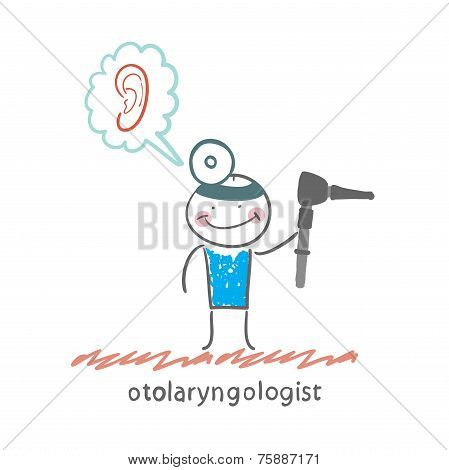 otolaryngologist holding tool for checking ear and thinks about the ear