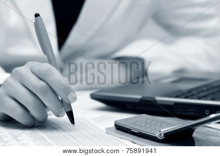 Business woman working financial accounting