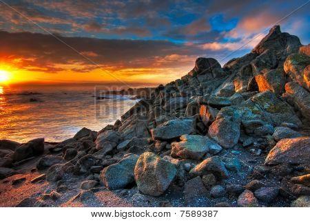 Beautiful Blue And Gold Sunrise At A California Beach