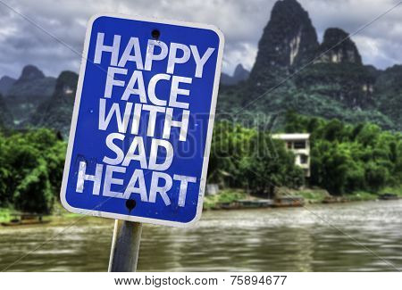 Happy Face With Sad Heart sign with a exotic background