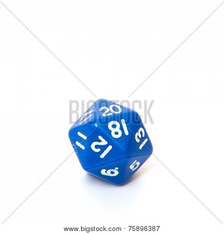 Twenty-sided dice. All on white background.