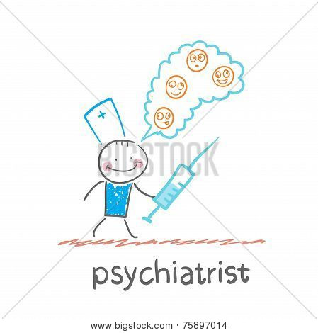 psychiatrist with a syringe thinks of demented patients