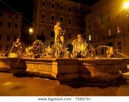 The Night View Of Fountain Of The Four Rivers