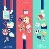 SEO flat banner set with analytics support digital marketing isolated vector illustration poster