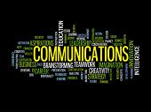 Communication business strategy concept word cloud poster